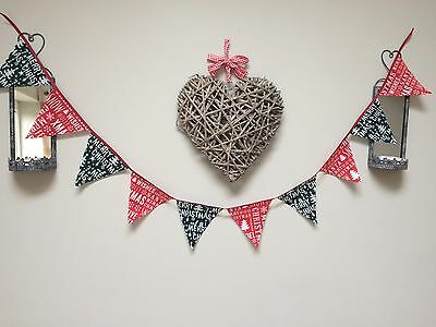 Festive Christmas Bunting Decoration Red Green Merry Tree Snowflake Snow Noel