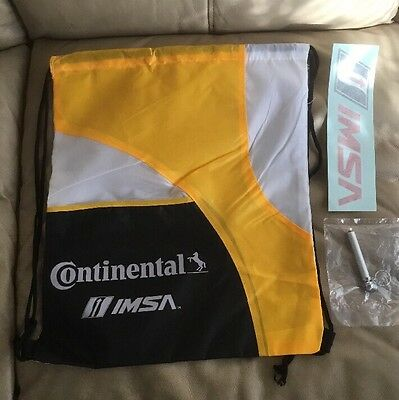 CONTINENTAL TIRE IMSA Drawstring Nylon Bag Backpack  & New TYRE CAUGE Keychain