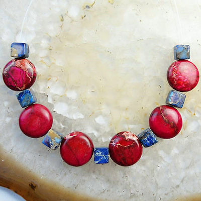 * Pack Of 5 Round Red Disc Design Natural Stone Beads
