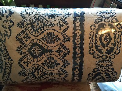 Pottery Barn Lori Paisley Print Full Queen Quilt NEW Navy Blue Ivory Sold Out!