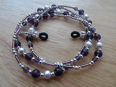 Handmade Purple Beaded Spectacle / Glasses Chain / Necklace.