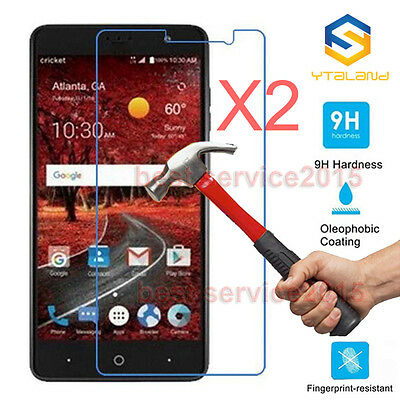 2Pcs 9H+ Tempered Glass Cover Screen Protector For ZTE Grand X 4 Z956 Cricket