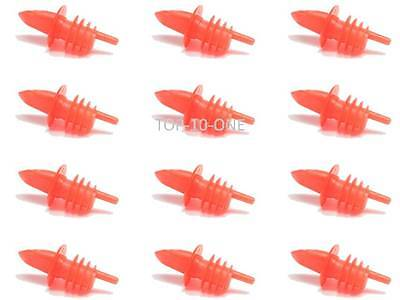 12 Pcs Red Plastic Liquor Free Flow Bar Wine Bottle Pourer Pour Spout Stopper