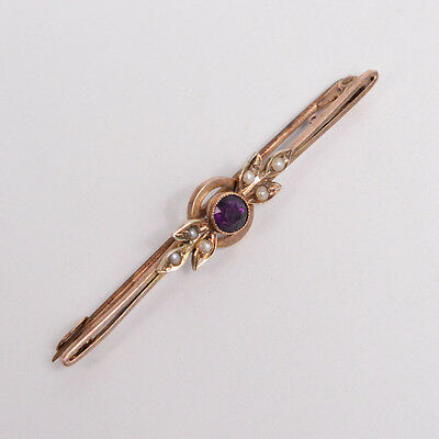 C189 Vintage 9K Yellow GOLD Brooch with AMETHYST AND PEARLS 2.3g