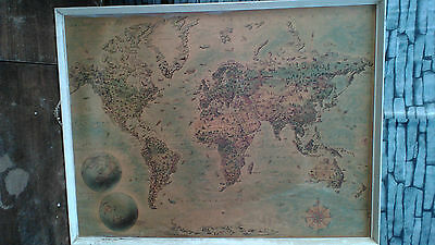 large framed map of the world vintage retro