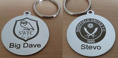 Sheffield United Sheffield Wednesday Chrome Plated Keyring Personalised Engraved