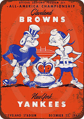 1946 Cleveland Browns vs. New York Yankees Vintage Look Reproduction metal sign