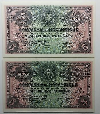 Mozambique - 2 X 5 Pounds - 1934 - Running Numbers - Unc