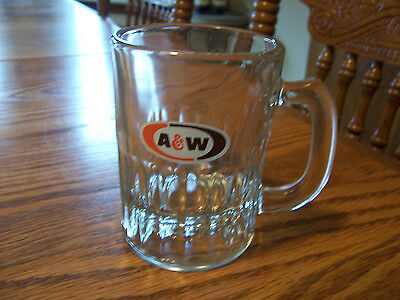 """Small Glass A & W Logo  4"""" Root Beer Handled Glass-  Mint!"""
