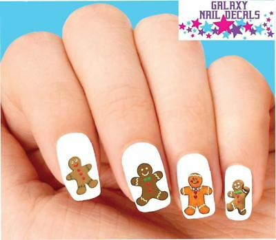 Waterslide Nail Decals - Set of 20 Holiday Christmas Gingerbread Man Assorted