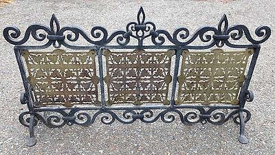 Antique Wrought & Cast Iron Picket Fence Fireplace Screen Fender Surround Signed