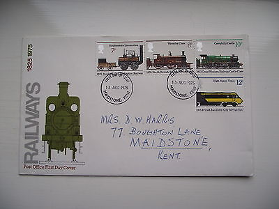 FDC - First Day Cover - 1975 Railways