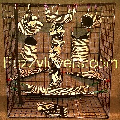 Grey and Black Zebra * 15 PC Sugar Glider Cage set * Rat * double layer Fleece
