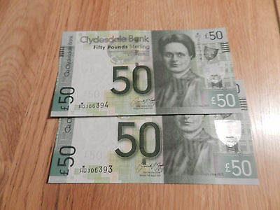 Pair Of Uncirculated Consecutive Clydesdale Bank £50 Fifty Pound Notes