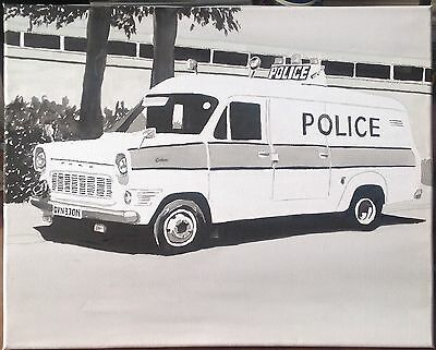 Original Acrylic Painting Of A Classic Ford Transit Police Van.