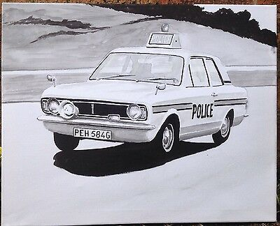 Original Acrylic Painting Of A Classic Mk 2 Ford Cortina Police Car.