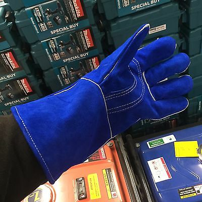 Blue Welding Gloves Cow Hide Leather Universal Fit