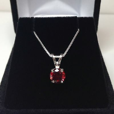 BEAUTIFUL 1ct Brilliant Cut Garnet Solitaire Pendant Sterling Silver Necklace