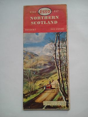 Vintage 1960 Esso Road Map Section 7 Northern Scotland