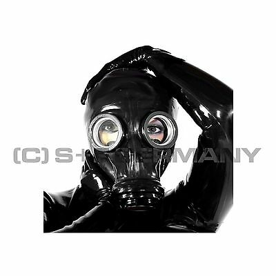 █ Deluxe Gas Mask + Hood Set F. Fetish Fetisch Catsuit Top Body Bag Leather Cape