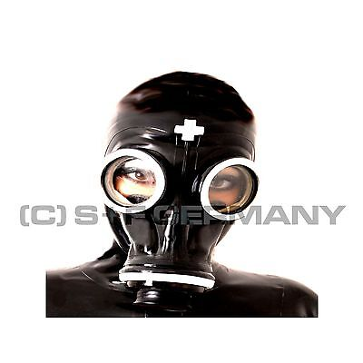 █ Deluxe Gas Mask Nurse + Hood Set Fetish Clinic Adult Baby Heavy Rubber Cosplay