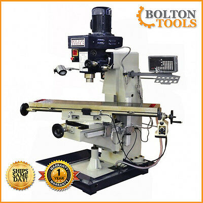 """10"""" x 48"""" Vertical Knee Milling Machine Mill Drill with Power Feed and DRO"""