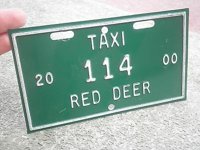 Taxi CAB Canada GREEN COLOR License Plates,Red Deer 114,from year 2000,Auto Car