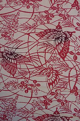 Crimson Red Cream Butterfly Shiba Vintage Japanese Kimono Silk Quilt Fabric 53""