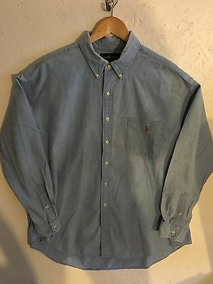Vintage Men's Ralph Lauren Chambray Light Denim XL Excellent