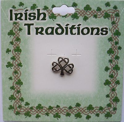 Irish Shamrock pin, silvertone finish, on card