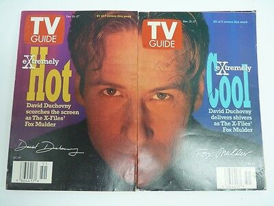 Vintage X-files TV Guide - 2 Alternate Covers Dec 1996 Signed David Duchovny