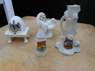 4 Pieces Crested China, Beehive, Turkey, Tree Stump, Shell, Burton Agnes, Easing