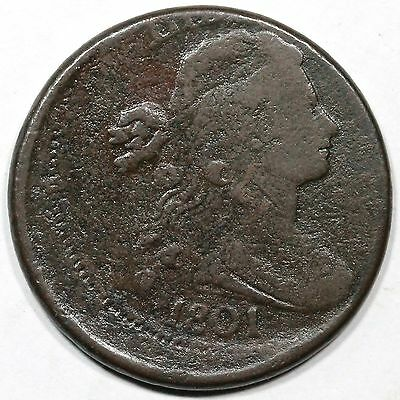 1801 S-216 Off Center Draped Bust Large Cent Coin 1c