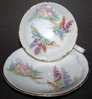 """HOLLYHOCK"" LANE - FINE BONE CHINA CUP & SAUCER PATTERN - Royal Stafford"