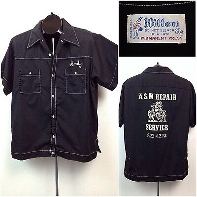 Vintage 1960s 1970s Black and White Hilton Button Up Bowling Panel Shirt L