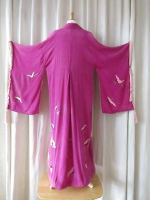 Pretty Antique Flappers Magenta Pink Silk Kimono- Hand Embroidered Pink Storks