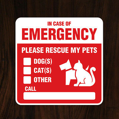 PET RESCUE Sticker/Decal - Window or Door Alert to Fire Department (Save Pets)
