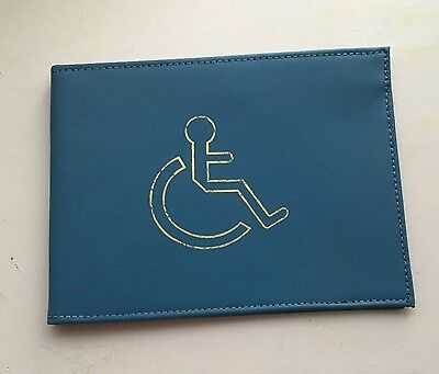 NEW REAL LEATHER DISABLED BADGE HOLDER WALLET PARKING BlUE DISABILITY COVER BLUE