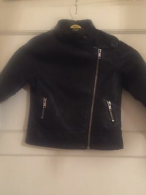 Girls Age7- 8  Black Faux Leather Jacket