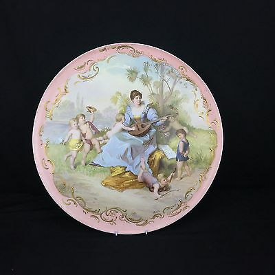 Wonderful Antique Royal Vienna Charger with Magnificent Painted Details Signed