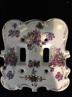 Vintage Purple flowers  Porcelain Double  Light Switch Cover Plate Shabby Chic
