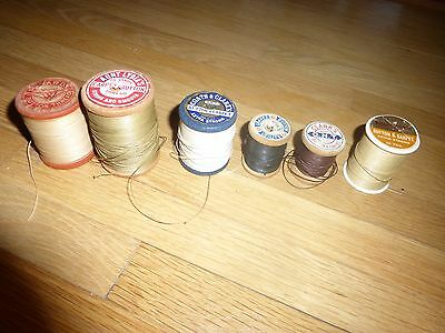 Vintage Lot (6) Spool Button Carpet Strong Aunt Lydia,Coats & Clark's, J&P Coats