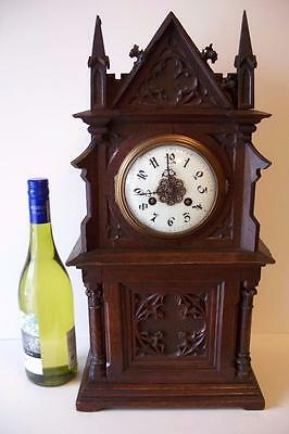 SUPERB ANTIQUE BLACK FOREST? CARVED CATHEDRAL MANTEL CLOCK c1890