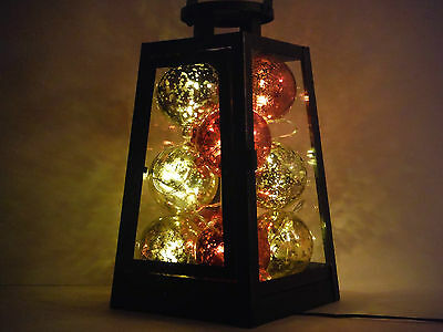 Christmas Lantern Vintage Style With Illuminating Ornaments. Great Decoration.