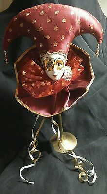 "MARDI GRAS COURT JESTER PORCELAIN DOLL HEAD on Brass style Stand 11 1/4"" tall"