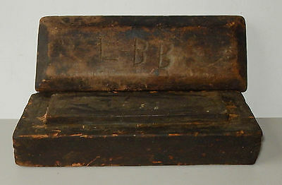 Vintage Antique Whetstone Sharpening Tool In Wood Box Primitive