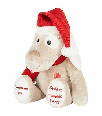 HARRODS BEAR FAMOUS RED BUTTON MY FIRST CHRISTMAS PUPPY - First Gift for baby