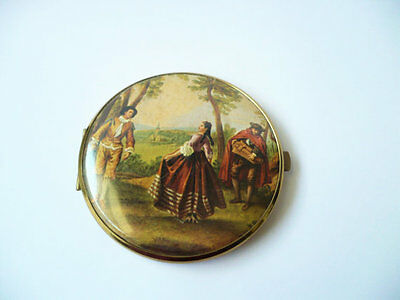 Vintage Double Mirror Compact Victorian Scene Gold Tone Round Glass For Repair