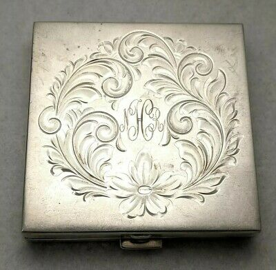 Vintage Etched Art Deco Floral Sterling Silver Makeup Powder Compact