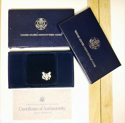 1987 United States Constitution Proof Coin Silver Dollar 90% Silver With COA
